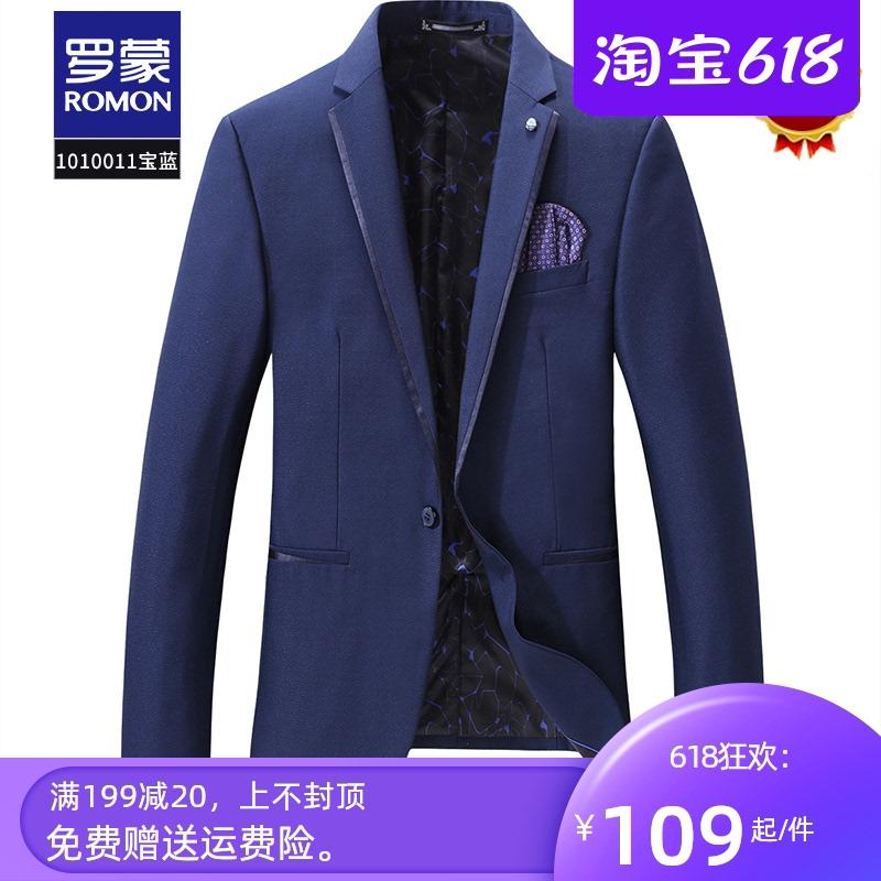 Romon casual suit mens Plaid top one piece suit coat slim fit Korean business suit
