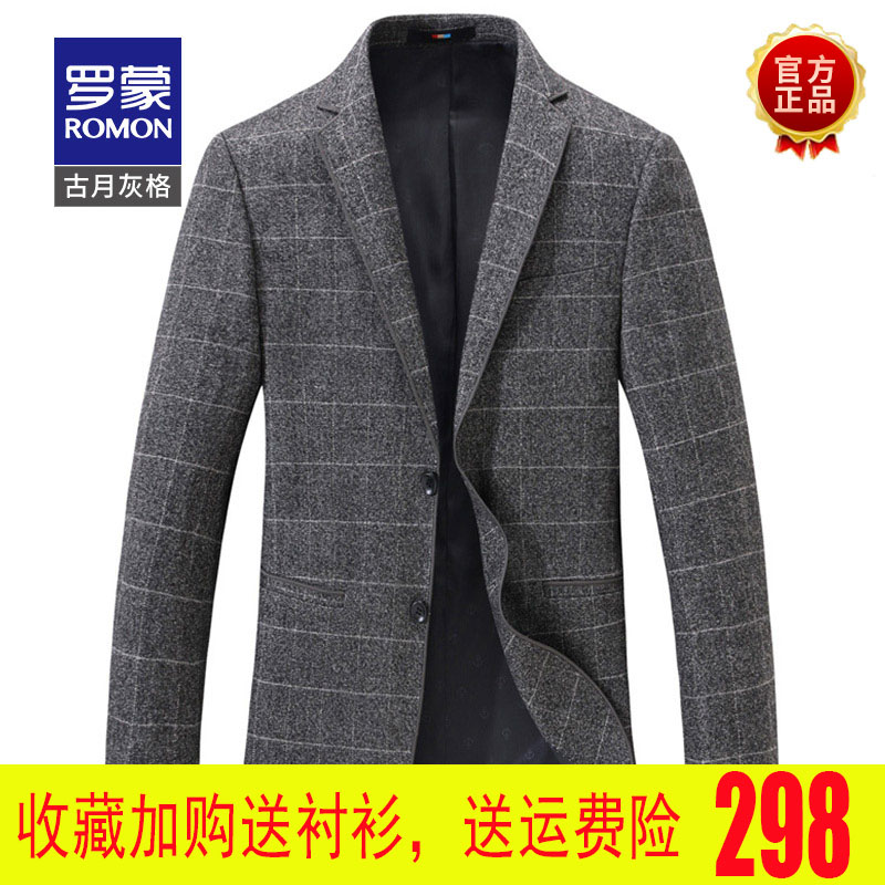 Romon casual suit mens Plaid top one piece suit coat slim fit Korean Blazer business spring summer Danxi