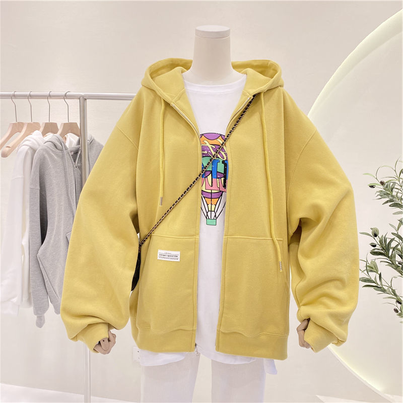 Womens sweater Korean 2021 summer new casual inner pocket solid color zipper cardigan hooded long sleeve jacket fashion