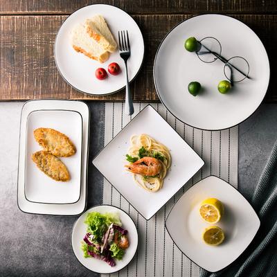 创意西餐盘子牛排北欧餐具 ins风日式白陶瓷网红家用菜盘欧式碟子