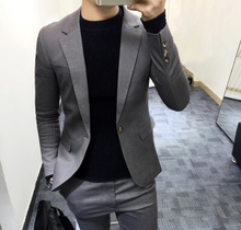 韩国新款时尚欧美英伦风西服套装配长裤 男士修身两件套西装 潮