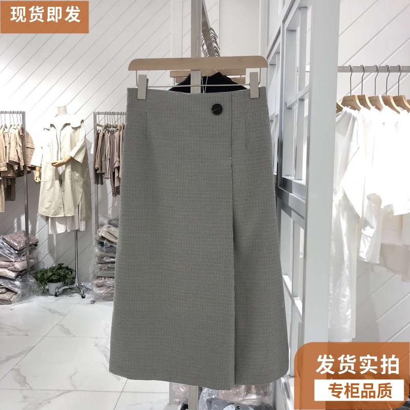 200.00元包邮款韩版高腰灰色格子伊芙丽女休闲裤