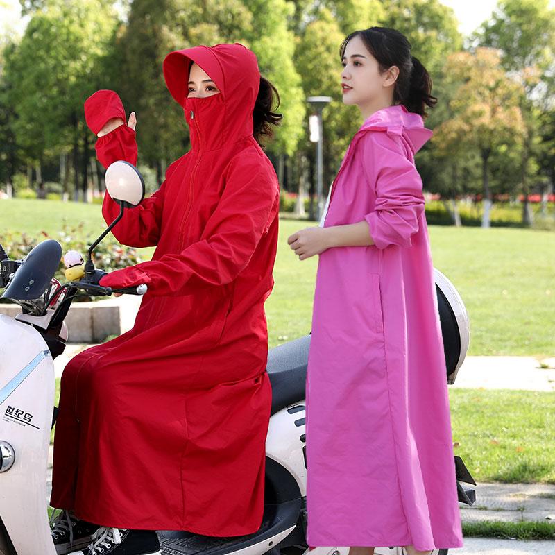 夏季电动车防晒衣女骑车电瓶车全身中长款纯棉连帽遮阳衫防紫外线