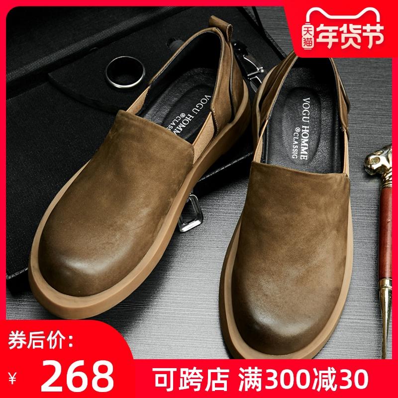 男鞋春季英伦复古大头鞋套脚休闲鞋男做旧磨砂个性底帮皮鞋潮鞋子