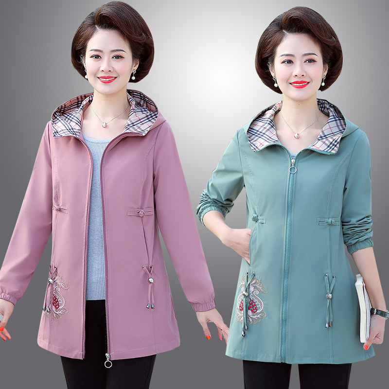 New style mother spring and autumn windbreaker jacket for middle aged and elderly women embroidered jacket