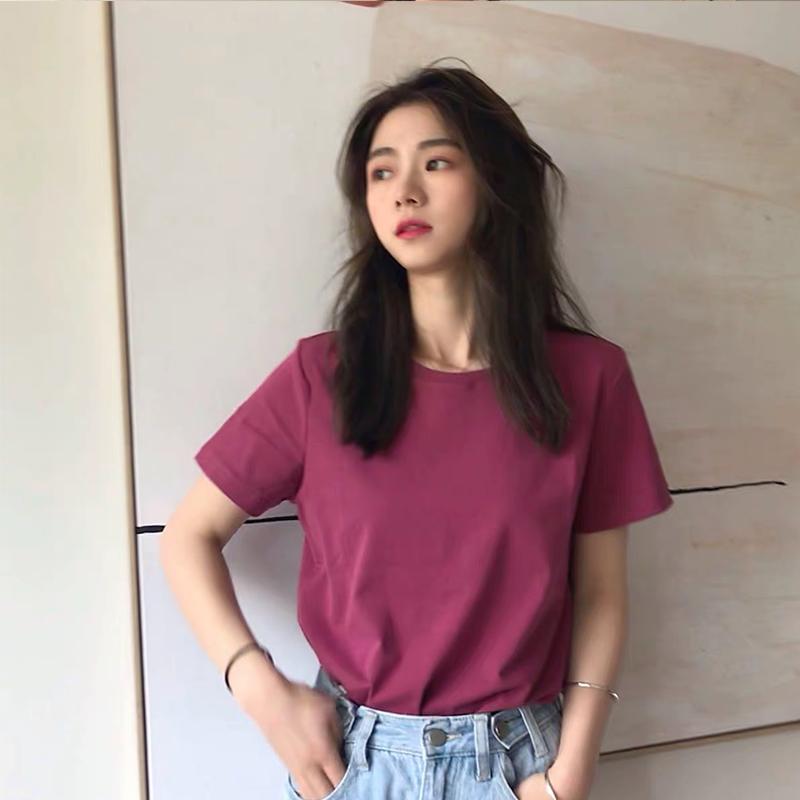 不包邮纯色2019新款夏女ins网红纯棉t恤