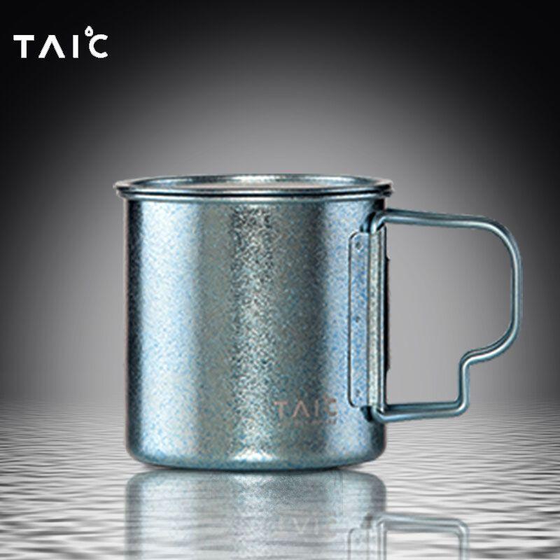 英国TAIC纯钛马克杯彩色手柄可折叠户外保鲜水杯超轻礼品咖啡杯子