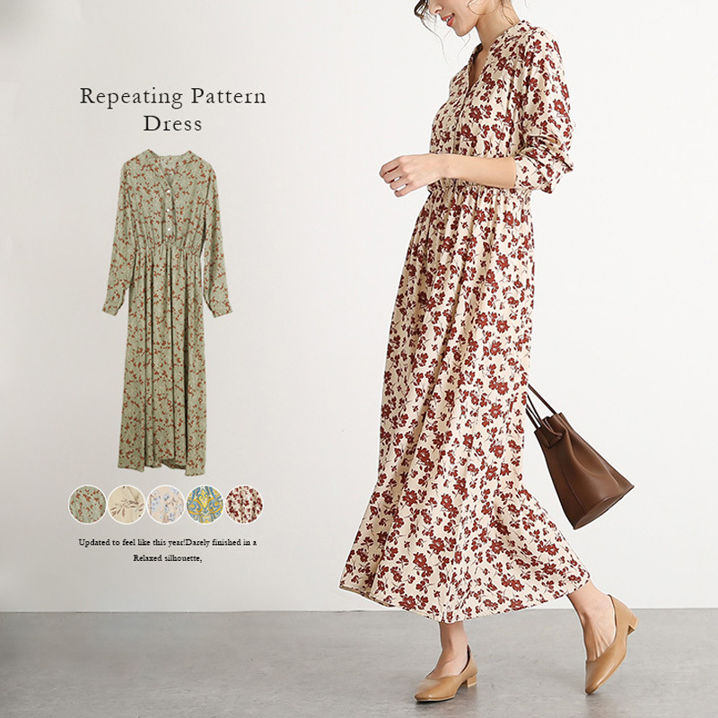 2020 long skirt Bohemian waist closed, breathable and comfortable French Chiffon floral dress with large swing elastic waist