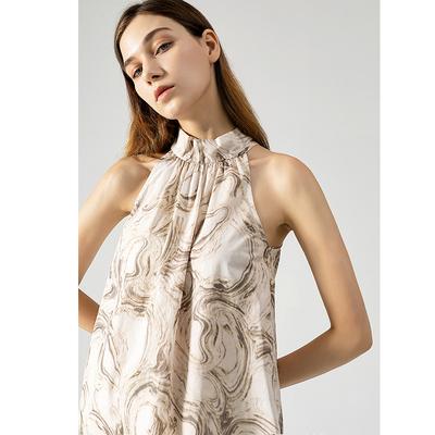 guilli2020s/极简独立设计师岩石纹印花立领背心上衣