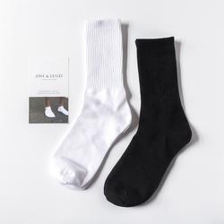 4双男士中纯色黑白色纯棉长筒袜子