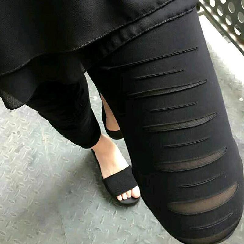大码胖mm破洞打底裤女春夏秋薄款弹力高腰200斤妈妈裤九分小脚裤