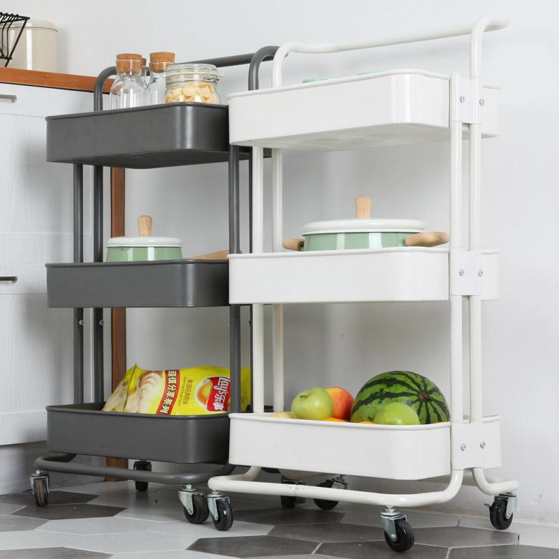 厨房置物架宜家推车可移动带轮蔬菜架客厅收纳架网红储物架小推车10-22新券