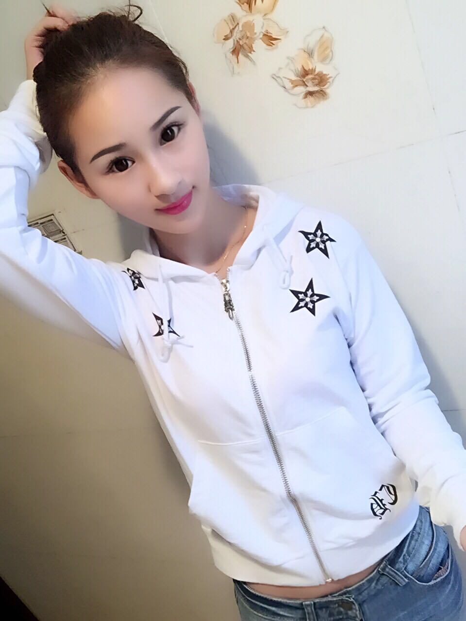 Crowe drawstring sweet lace up heart star printed sweater cardigan short Hooded Jacket available in large sizes