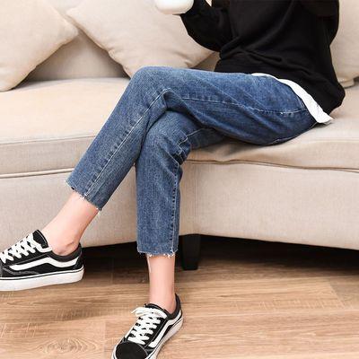 孕妇牛仔裤孕妇春秋外穿九分2020新款时尚长裤托腹裤怀孕期直筒裤