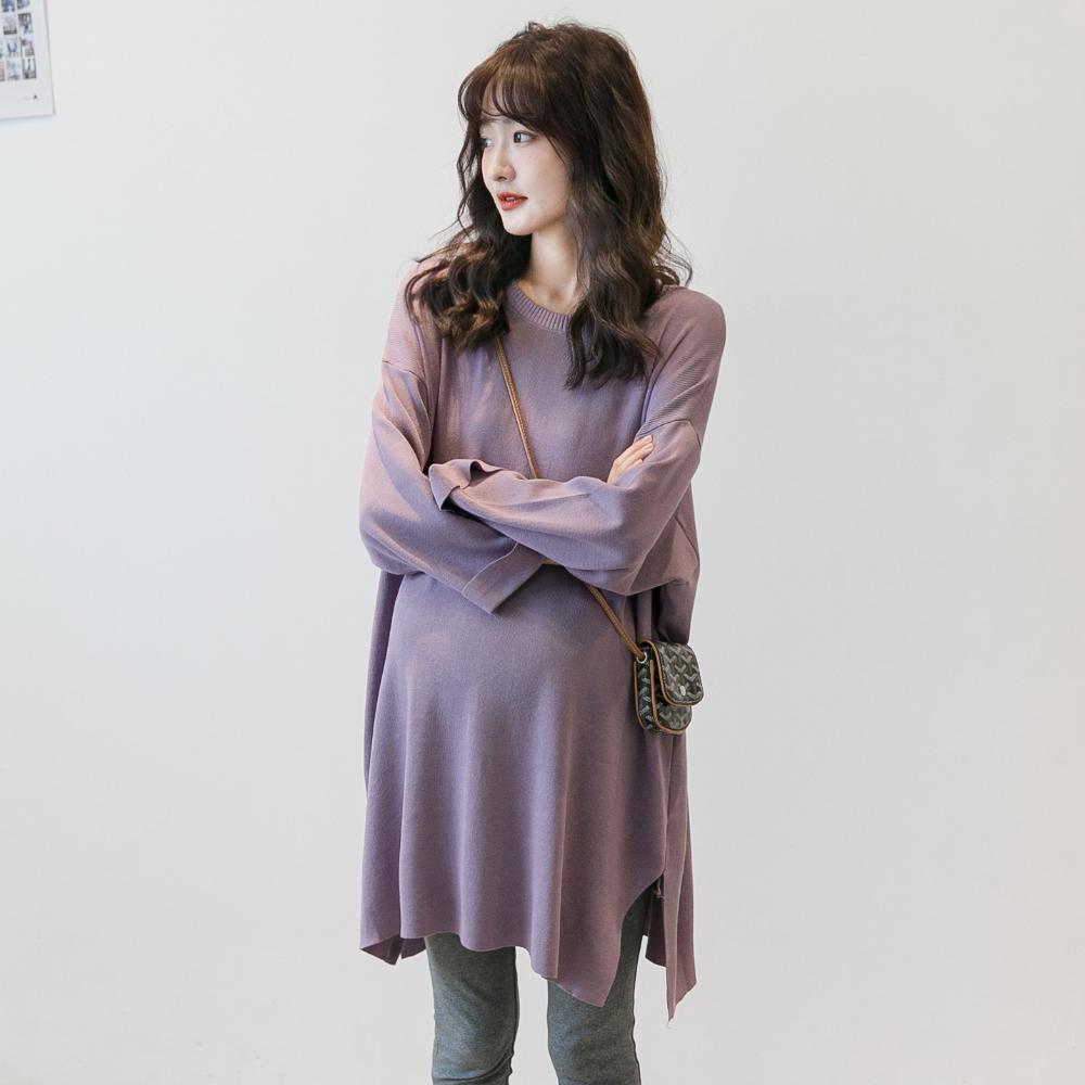 孕妇春装时尚款套装韩国针织衫中长款上衣大码长袖打底衫辣妈毛衣
