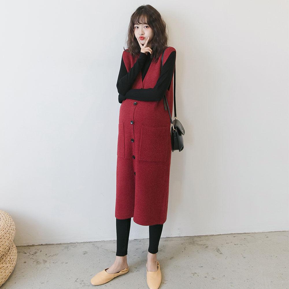 孕妇装秋装韩国气质长款马甲背心裙限100000张券