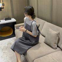 孕妇夏装时尚套装韩国孕妇背带裙外穿薄款大码宽松短袖T两件套潮