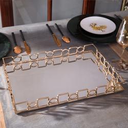 北欧ins合金属镜面长方形托盘样板房卫浴摆件家用果盘茶水杯收纳