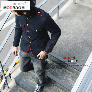 Modscom autumn and winter influx of men Korean Slim collar fitted military jacket British style casual woolen coat male