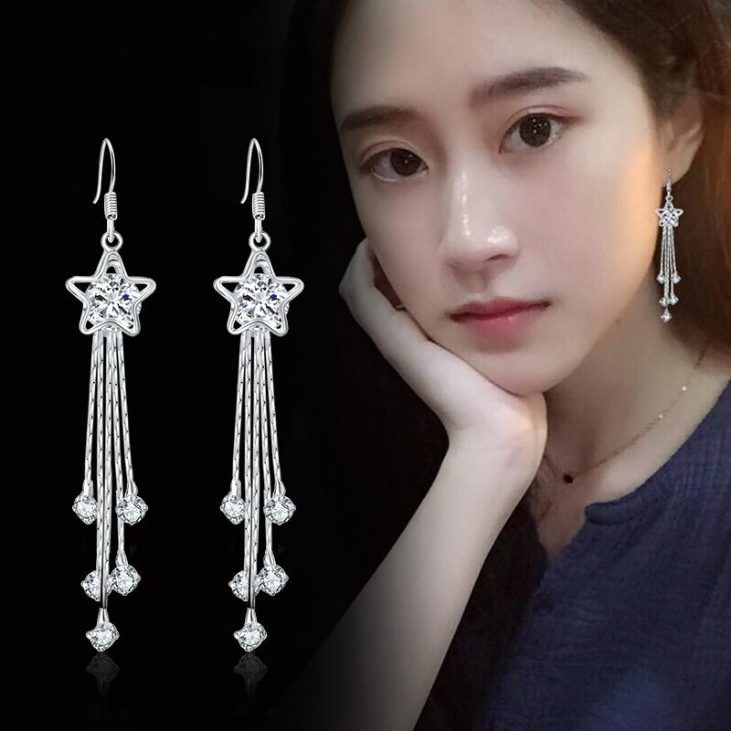 耳环女韩国气质长款简约S925纯银流苏防过敏耳坠水晶个性百搭耳钉