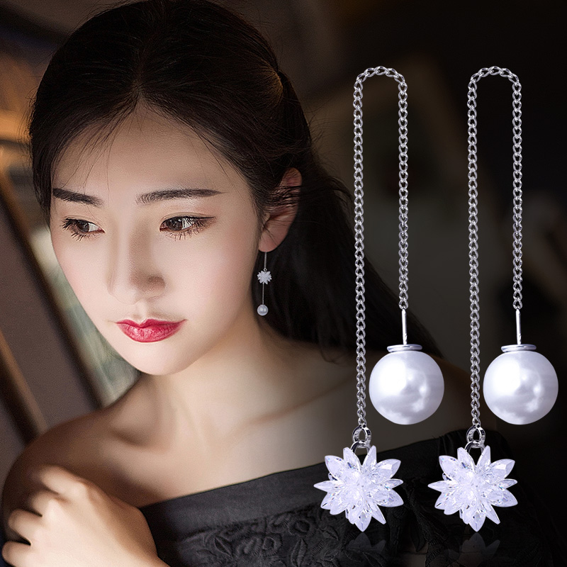 S925银水晶冰花耳环韩国耳线长款气质简约耳吊坠流苏耳钉女配饰品