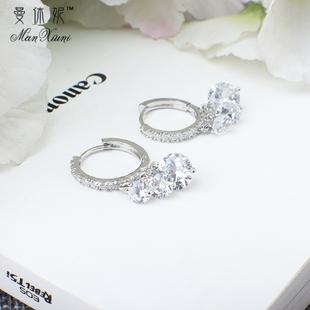 百搭锆石耳钉女防过敏 耳圈个性 s925纯银水晶耳扣韩国气质简约时尚
