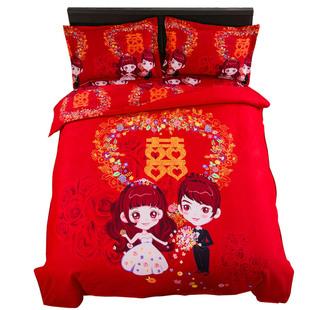 婚庆四件套大红结婚床上用品床单