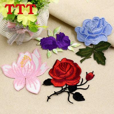 彩色刺绣玫瑰花朵布贴衣服贴布补丁贴花图案绣花贴片补贴破洞补洞