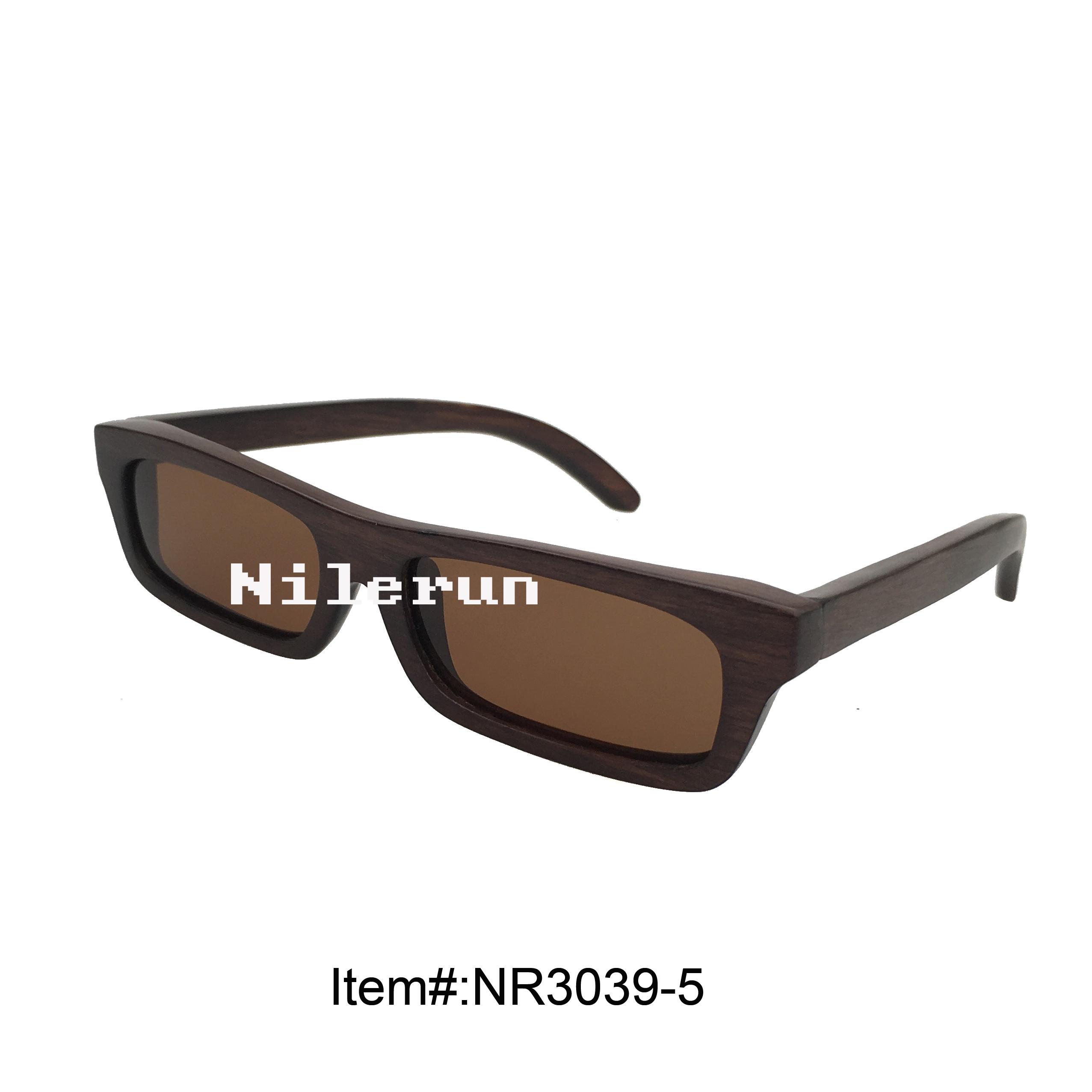 狭窄细长形染棕色实木框太阳眼镜茶色偏光墨镜