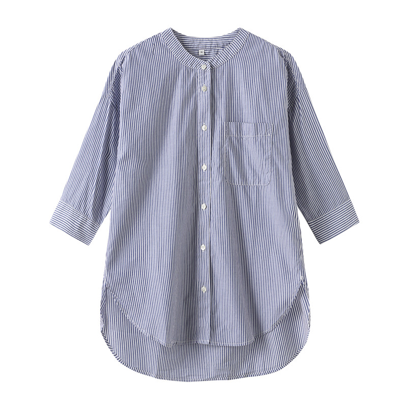 Womens art stripe small stand collar 7 / 4 Sleeve Shirt chic wind Muji Japanese single imported organic cotton material