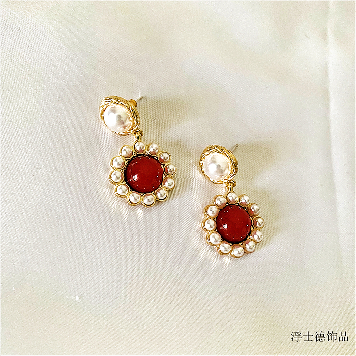 French pearl wound Earrings Ruby retro court gentle Earrings long style versatile high sense Earrings