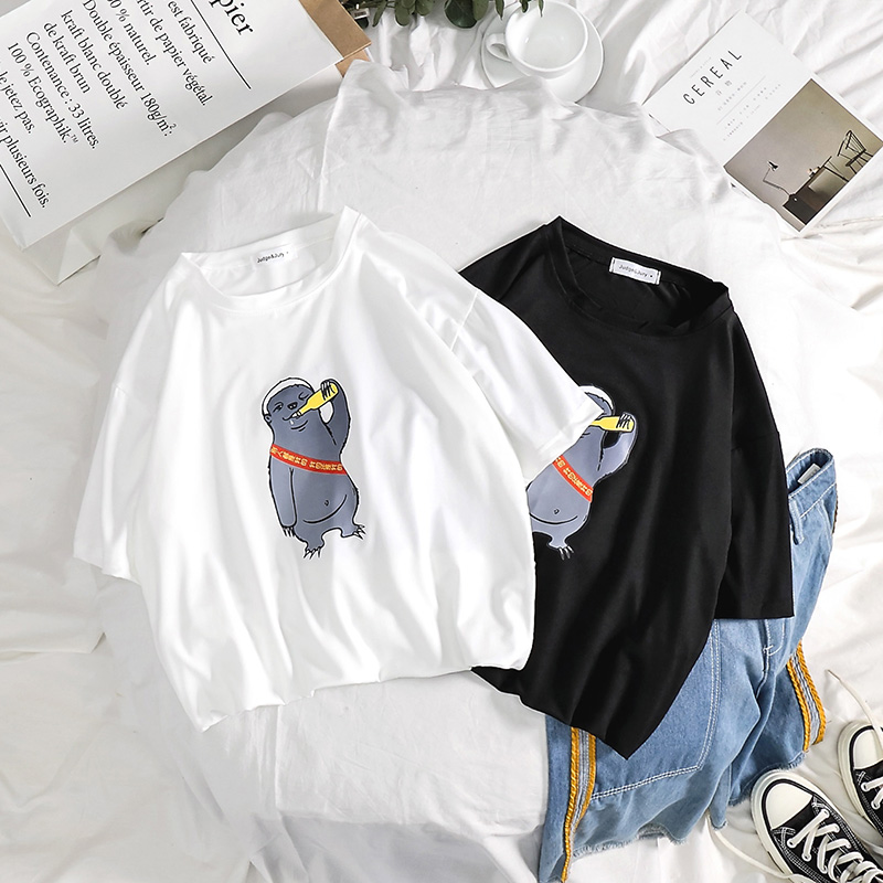 夏季原宿潮牌印花短袖T恤男生ulzzang嘻哈体恤半袖上衣港风打底衫
