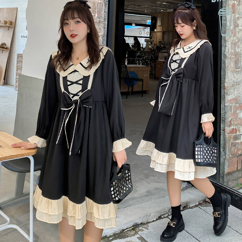 Small black dress OP Lolita daily net red fried Street foreign style micro fat large dress autumn fat mm
