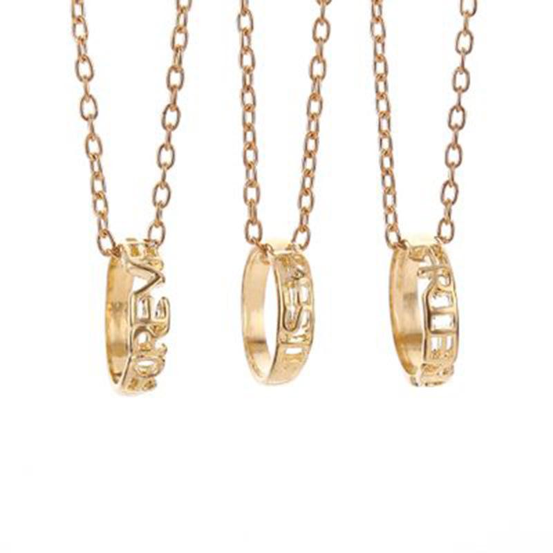 三人戒指拼接项链吊坠学生友谊拼图饰品 一套3条韩版三闺蜜三姐妹