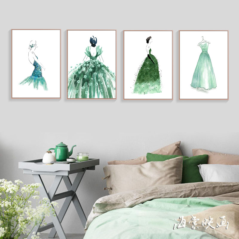Fashion dress pattern decoration painting bedroom living room wall painting office study dining room hanging picture porch framed painting