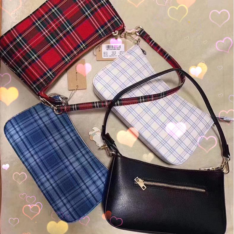 Spring and summer new brandy club bag Melville same vintage red plaid underarm shoulder bag BM same style