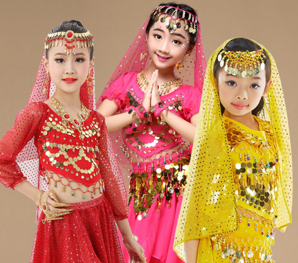 2019 Indian dance accessories earrings necklaces nose chain adult children belly dance family dance head chain headgear