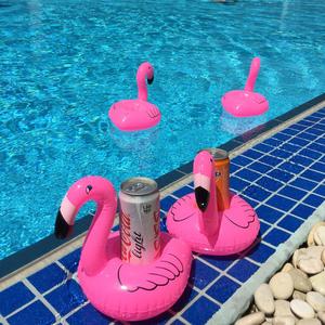 粉色火烈鸟漂浮杯座 水上充气底座可乐啤酒饮料杯托 游泳休闲玩具