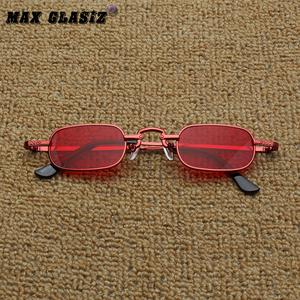 欧美街拍复古四方小眼镜朋克太阳镜时髦凹造墨镜小方框雕花复刻版