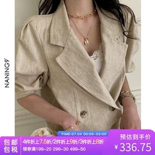 亚麻外套短款 西装 短袖 新款 NANING9泡泡袖 韩国直邮女装 2020夏季