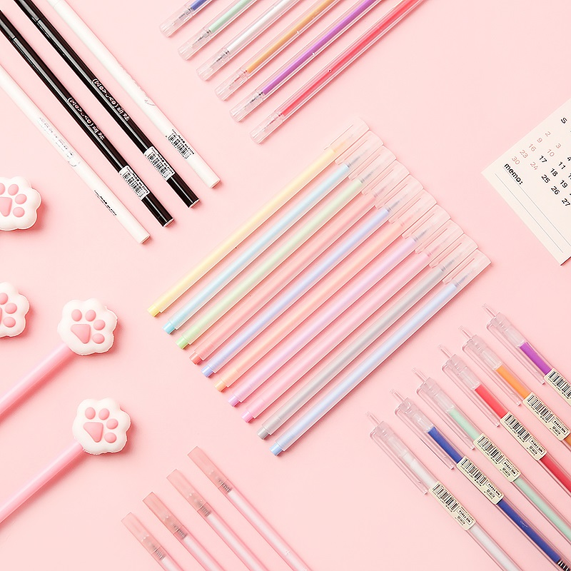 三年二班 彩色笔中性笔0.5针管手账彩色做笔记专用笔套装糖果色学生用水笔芯文具韩国小清新可爱手帐专用笔图片