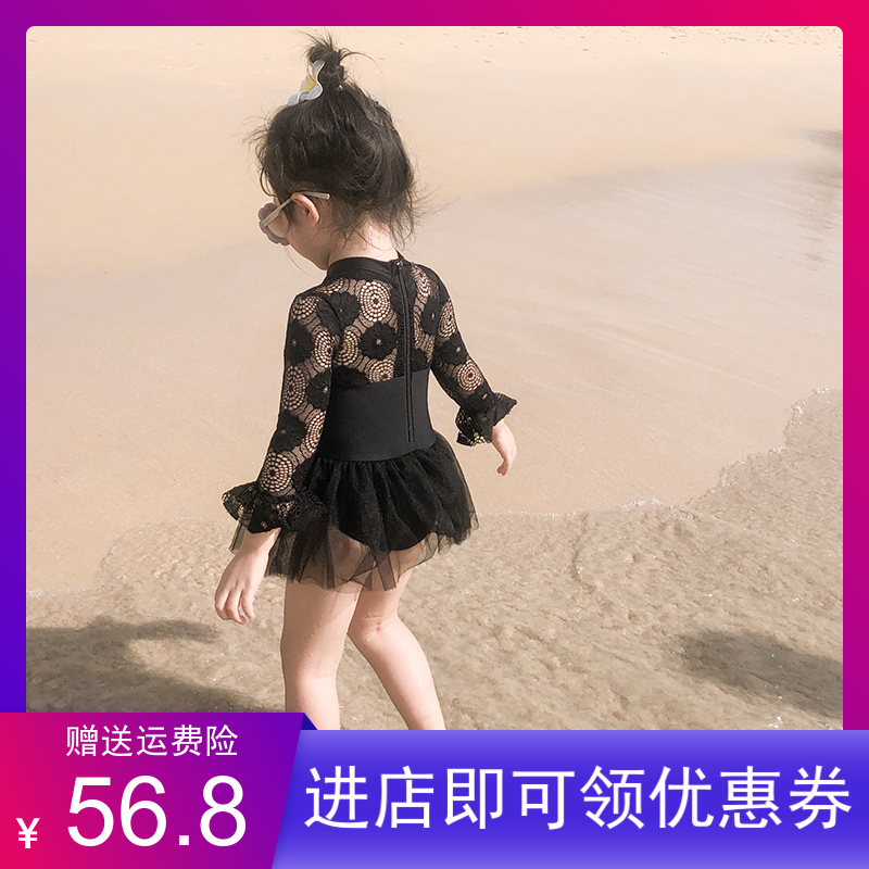 Ins childrens swimsuit childrens baby swimsuit girls gauze skirt swimsuit one piece sunscreen swimsuit