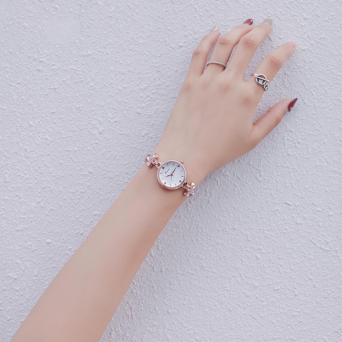 Kimio手表女钻表镶钻女表带钻学生水钻水晶时尚防水石榴石手链表