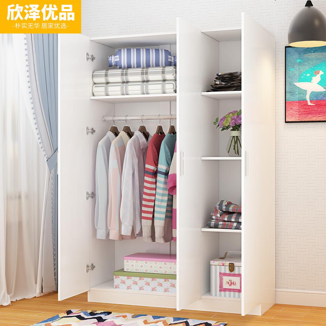 衣柜实木简易双门三门四门组装简约现代小户型经济型儿童组合衣橱