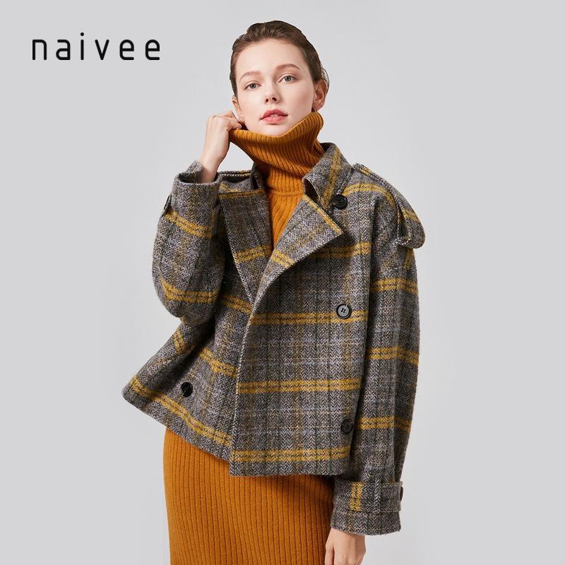 商场同款纳薇naivee2019冬季新款通勤格纹翻领宽松短款羊毛呢大衣