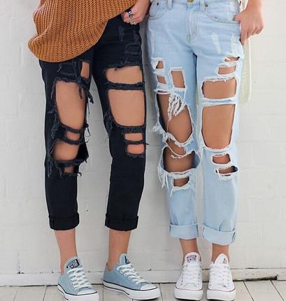 Ripped Jeans High Waist Women Ripped Hole Knee Skinny Pants