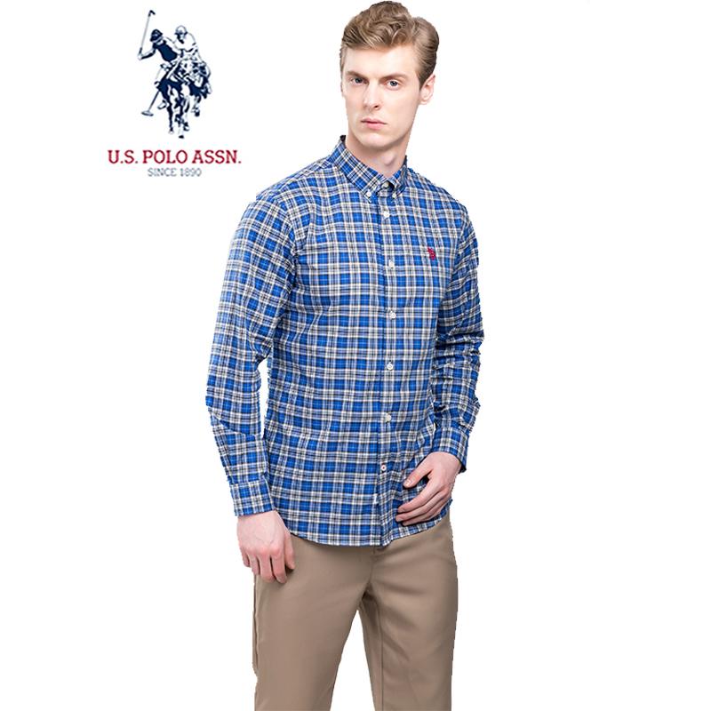 美国马球协会USPA男士长袖格子衬衫