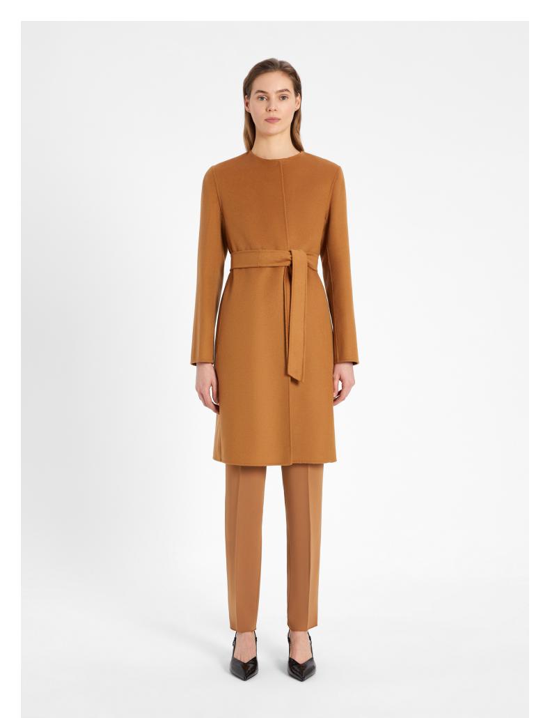 2021 女士 双面羊毛混纺高定大衣修身毛呢羊绒秋冬中长款呢子欧美