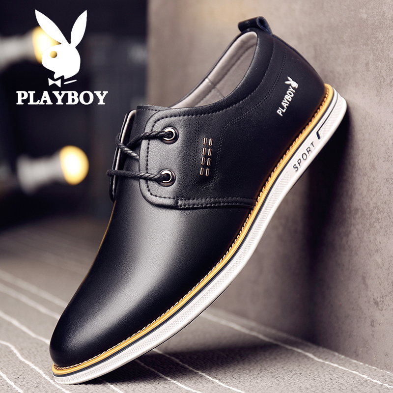Playboy mens shoes autumn and winter 2019 new leather shoes Korean style casual shoes British business breathable shoes trend