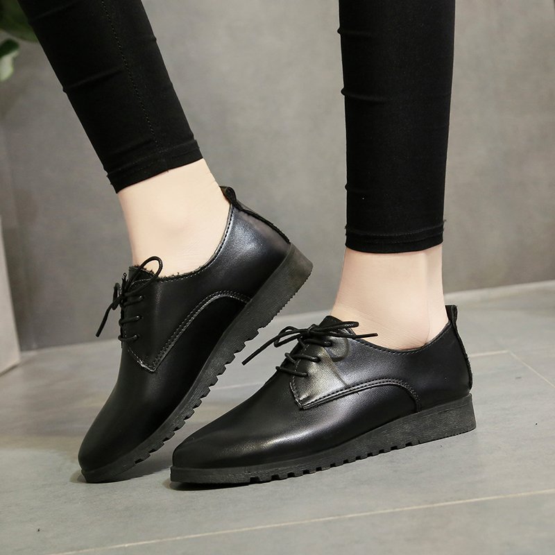 Black leather shoes womens British style 2018 new autumn and winter versatile single shoes 2020 spring thick heels womens shoes